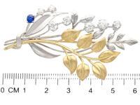 0.22ct Sapphire & 1.82ct Diamond, 18ct Yellow & White Gold Spray Brooch c.1930 (7 of 9)