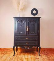 French Antique Style Cabinet / Black Cupboard / Louis XV Style (2 of 10)