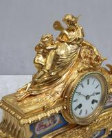 French Napoleon III Bronze Gilt & Porcelain Mantel Clock by Vincenti (6 of 9)