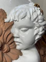 Beautiful Hollywood Regency Style Oversized Porcelain & Terracotta Cherub Floor Vase (47 of 52)