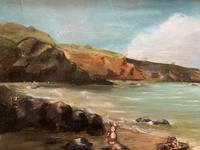 Original Antique 19th Century British Coastal Seascape Oil on Board Painting (7 of 10)