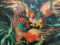 Stunning Original 1970s Vintage Abstract  Acrylic Painting Cocks Fighting - Game (4 of 15)