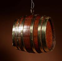 Very Rare and Beautiful Coopered Oak & Brass Small Hanging Barrel (7 of 12)
