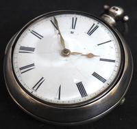 Antique Silver Pair Case Pocket Watch Fusee Verge Escapement Key Wind Enamel Dial (8 of 10)