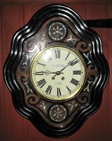 Wonderful 1880's French Striking Oval Vineyard Wall Clock by Japy Frères. (8 of 8)