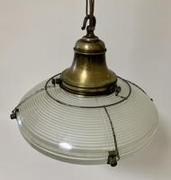 Original Holophane Flying Saucer Glass Pendant Light (2 of 11)