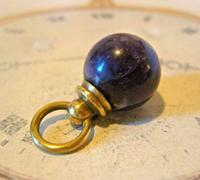 Victorian Pocket Watch Chain Fob 1890s Antique Large Brass & Amethyst Ball Fob (3 of 8)