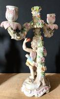 Fine Pair of Winged Cherub Porcelain Candlesticks c.1880 (7 of 11)