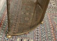 Victorian Arts & Crafts Brass Curved Fire Guard, Spark Screen (4 of 5)