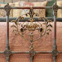 Decorative Antique Bed in Blue Verdigris (5 of 9)