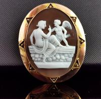Antique Victorian Cameo Brooch, 9ct Gold, Cupid (5 of 10)
