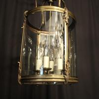 French Large Brass Four Light Antique Lantern (10 of 10)