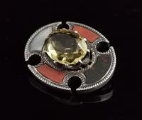 Antique Scottish Agate and Citrine Brooch, Sterling Silver (3 of 11)