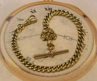 Antique Pocket Watch Chain 1870s Victorian Huge Brass Albert With T Bar & Fancy Mount (2 of 12)