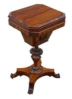 Victorian C1860 Rosewood Gothic Work Side Sewing Table Box (9 of 11)