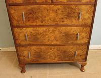 Burr Walnut Art Deco Tallboy Chest of Drawers (10 of 12)
