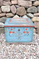 Swedish 'folk art' original blue paint box from hälsingland region, 1847. (24 of 26)
