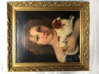 Victorian 19th Century Oil Painting Portrait Young Girl & Cavalier King Charles Spaniel (30 of 34)