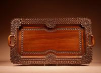 Two Colonial Very Fine Carved Wooden Trays (5 of 13)