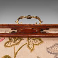 Antique Needlepoint Fire Screen, English, Mahogany, Fireside Guard, Regency (9 of 12)