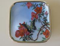 Antique Silver Guilloche Dish Painted with Butterfly & Flowers - 1911 (3 of 11)