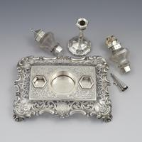 Antique Victorian Silver Double Inkstand With Taperstick & Stamp Box (10 of 15)
