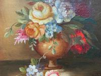 Superb Original Early 20th Century Continental Miniature Floral Still Life Oil Painting (2 of 11)