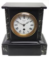 Antique French Slate & Marble 8 Day Mantel Clock J W Benson (4 of 8)
