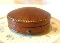 Antique Jewellery or Fob Watch Box 1910 Edwardian Burgundy Leatherette Satin Lined (5 of 9)