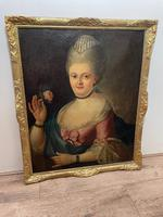 18th Century Oil Painting Portrait Lady In Pink Silk Dress Holding A Rose (6 of 62)