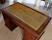 Mahogany Leather Desk 19th Century Victorian Kneehole Twin Pedestal (7 of 14)