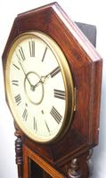 Impressive Victorian American Drop Dial Wall Clock 8 Day Movement Inlaid Case (10 of 14)