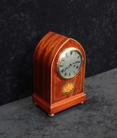 French Belle Epoque Mahogany & Inlaid Mantel Clock (5 of 7)