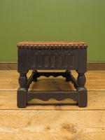 Small Vintage Wooden Black Painted Foot Stool with Brown Leather Top (11 of 17)