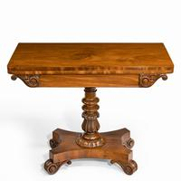 Companion Pair of William IV Flame Mahogany Card Tables (10 of 13)