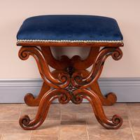 Good Quality 19th Century X-framed Rosewood Stool (5 of 10)