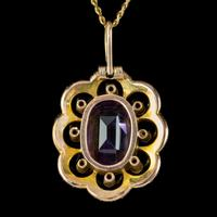 Antique Edwardian Suffragette Pendant Necklace Amethyst Peridot Pearl 9ct Gold c.1910 (3 of 8)