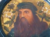 2 19th Century Pre Raphaelite Roundel Oil Portraits . Da Vinci & Velasquez (4 of 7)