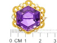 12.50ct Amethyst & Seed Pearl, 15ct Yellow Gold Brooch - Antique c.1890 (7 of 9)