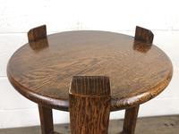 Early 20th Century Antique Oak Circular Side Table with shelf (6 of 9)
