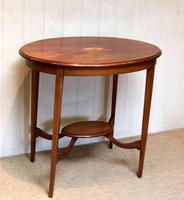 Oval Inlaid Occasional Mahogany Table (3 of 9)
