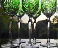 5 Green Hock Glasses Bohemian 1960 (2 of 5)
