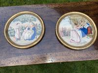 Pair of circular needlepoint pictures in original gilt frames (3 of 4)