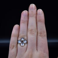 Antique Moonstone Sterling Silver Cluster Conversion Ring (7 of 9)