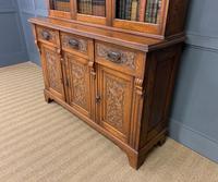 Victorian Carved Oak 3 Door Bookcase (2 of 23)