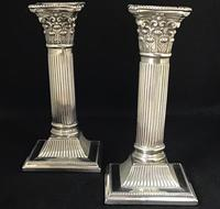 Pair of Square Base Late Victorian Silver Plate Corinthian Column Candlesticks (4 of 6)