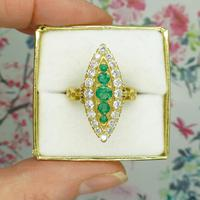 Vintage 18ct Gold Emerald & Diamond Marquise / Navette Cluster Ring c.1920s ~ With Independent Appraisal Valuation (9 of 9)