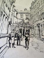 Hanslip Fletcher Original Pen & Ink Drawing & another Lithograph- London Scene 1928 (9 of 9)