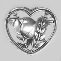 Vintage  Georg Jensen Robin in a Heart Brooch Arno Malinowski 1930s Silver 283 Brooch (4 of 6)