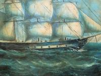 Original Seascape Oil Painting of 18th Century Tall-Masted Ship on the High Seas (7 of 12)